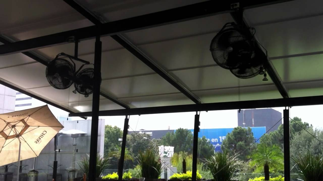 Ventilador con brisa en restaurantes youtube - Ventiladores de agua ...