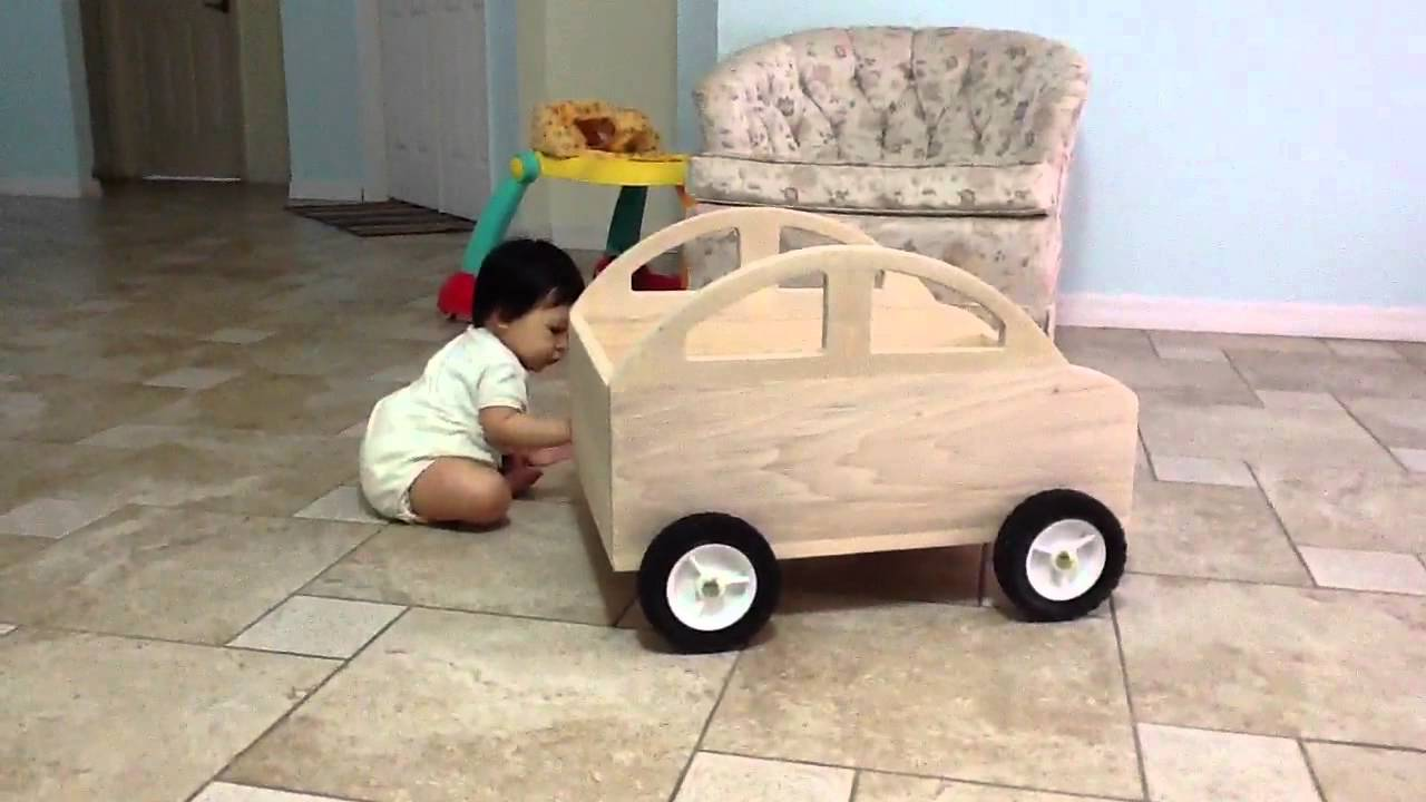 babys first homemade wooden toy car youtube