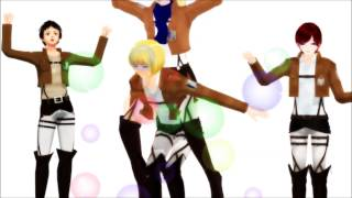 la Boom Ba La [MMD] Yuta. Kaoi. Armin and Eren