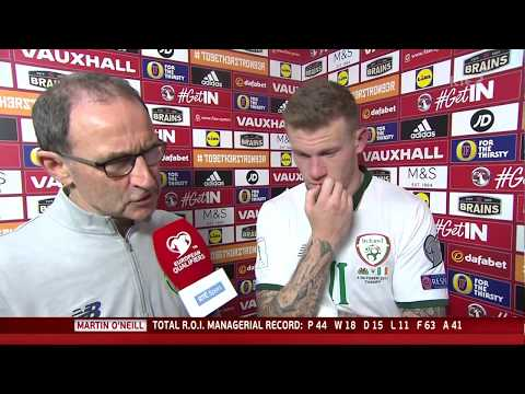 Wales v Republic of Ireland - post-match interview - Martin O'Neill and James McClean (9/10/17)
