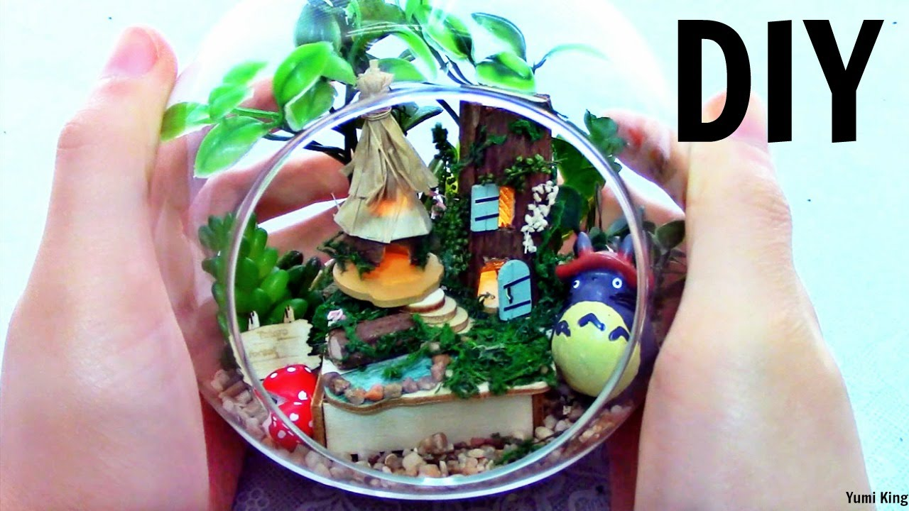 Diy Miniature Terrarium With Lights Diy Miniature Totoro Forest
