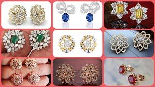 Beautiful stylish latest gold diamond tops earrings collection