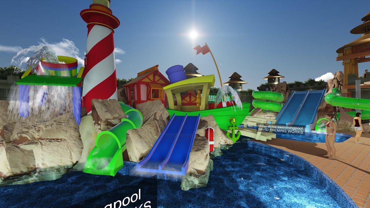 Dise o y construcci n de piscinas tem ticas youtube for Piscinas con toboganes
