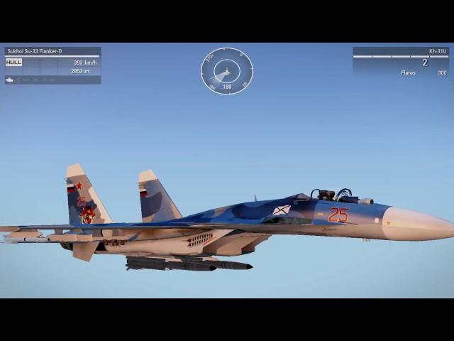 Sukhoi Su-33 Flanker-D KH-31 missile test