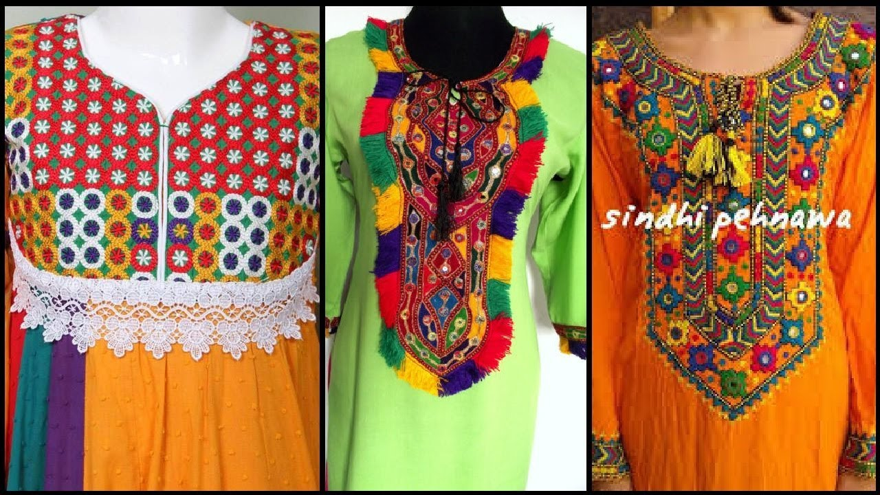 Stylish Beautiful Embroidered Neck Designs Hand Embroidered