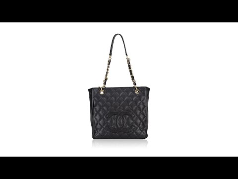Chanel Caviar Quilted Petite Shopping Tote Black