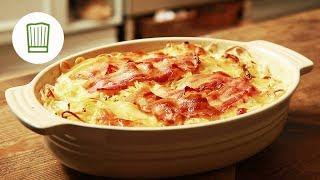 Nudelauflauf mit Speck: Sahniges Glück aus dem Ofen #chefkoch