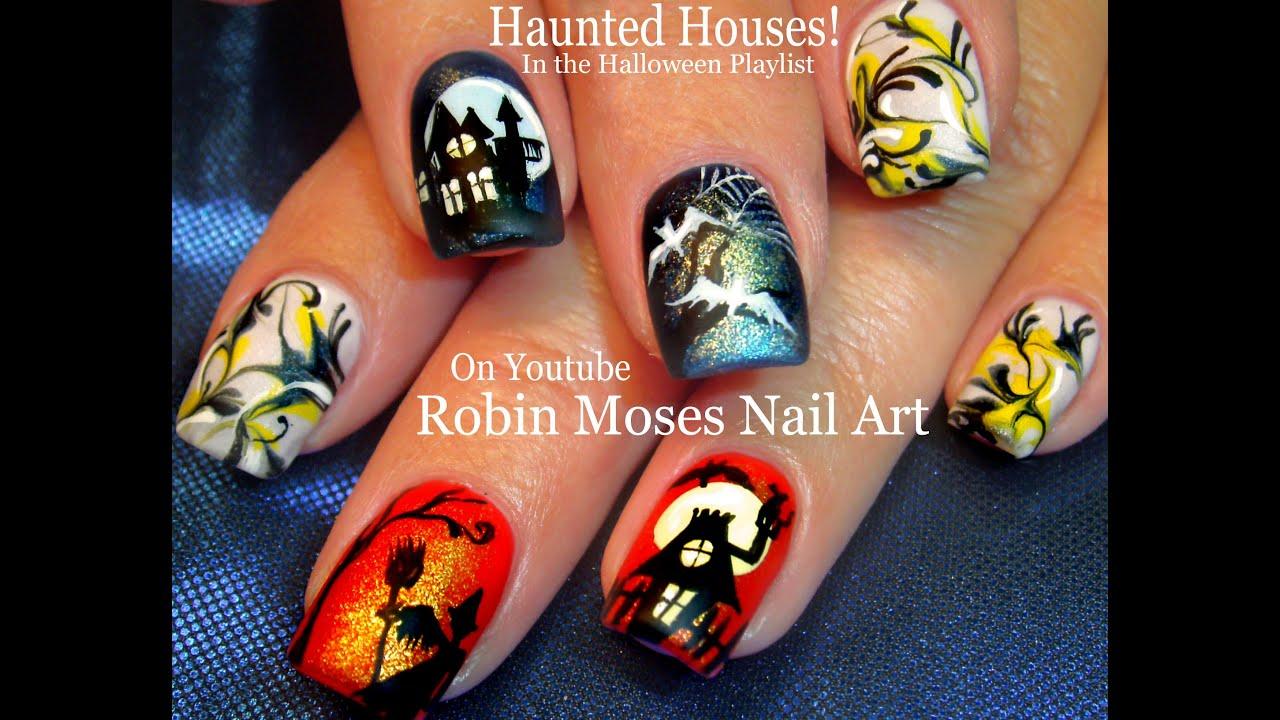 Halloween no water marble nail art haunted house nails design halloween no water marble nail art haunted house nails design tutorial prinsesfo Gallery