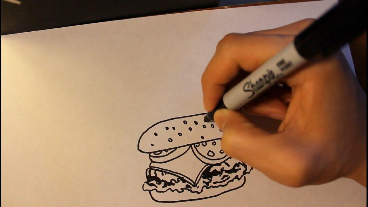 how to draw a hamburger