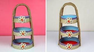 DIY Jute Organizer Jute Craft Ideas   Jute Storage Basket and Organizer with Handles   out of waste