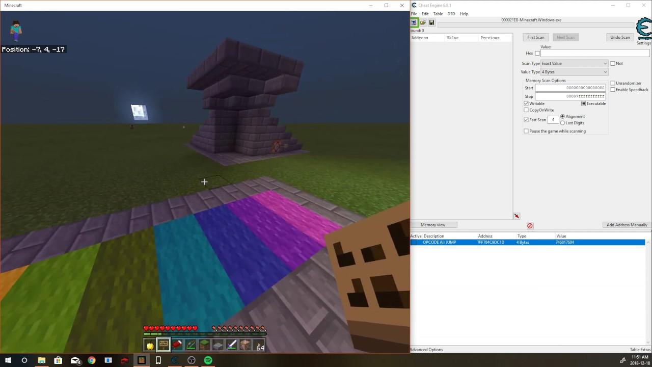 minecraft windows 10 edition cheat engine
