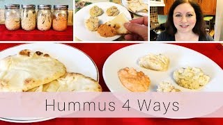 Hummus in 4 Flavors - Mediterranean Diet Snacks