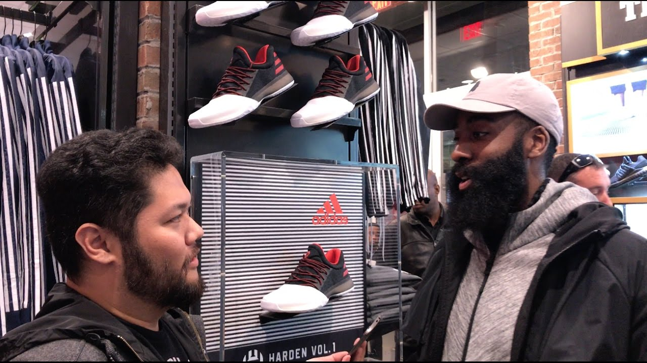 53e603cd68de James Harden Interview At The Launch Of The adidas Harden Vol. 1 In Foot  Locker Santa Monica - YouTube