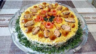 """Вкуснейший Праздничный Салат """"Мажор"""" из Сёмги, Мидий, Сыра и Опят ! Нежный и Сочный !"""