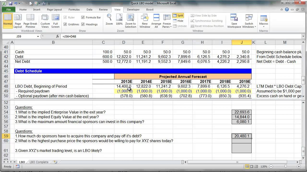 simple lbo model template - financial modeling quick lesson simple lbo model 3 of 3