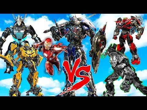 OPTIMUS PRIME & BUMBLEBEE & DRIFT & IRON MAN vs LOCKDOWN & STINGER - EPIC TRANSFORMERS WAR