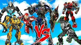 OPTIMUS PRIMEBUMBLEBEEDRIFTIRON MAN vs LOCKDOWNSTINGER EPIC TRANSFORMERS WAR