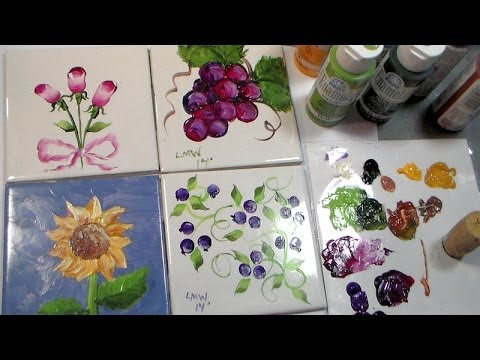 Painting Ceramic Tiles with Folk Art Enamels & Painting Ceramic Tiles with Folk Art Enamels - YouTube
