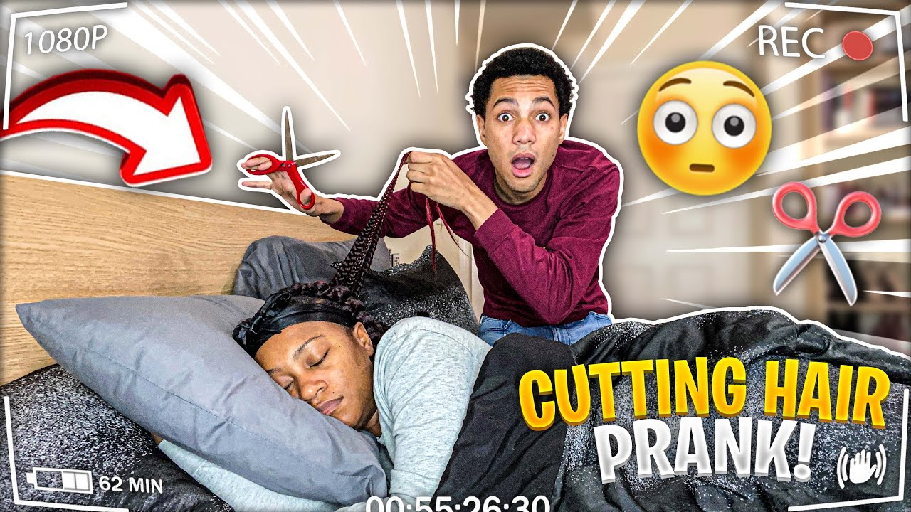 CUTTING MY GIRLFRIEND HAIR WHILE SHE'S SLEEPING! *Bad Idea*
