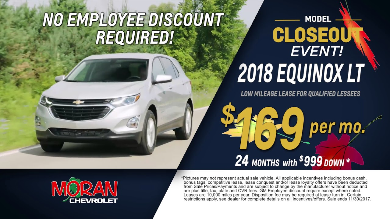 Chevrolet Lease Deals >> 2018 Chevy Equinox Lease Deals For November Youtube