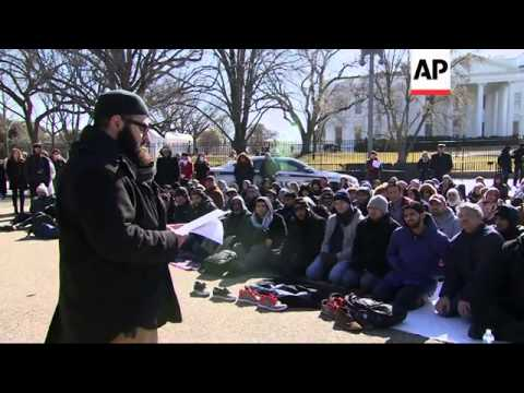 Muslim Friday prayer service held in front of the White House, remembering three college students sl