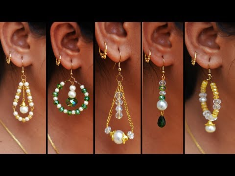5-easy-pearl-&-crystal-earring-design-|-diy-|-5-min-craft-|-hand-made-jewelry-|-art-with-creativity