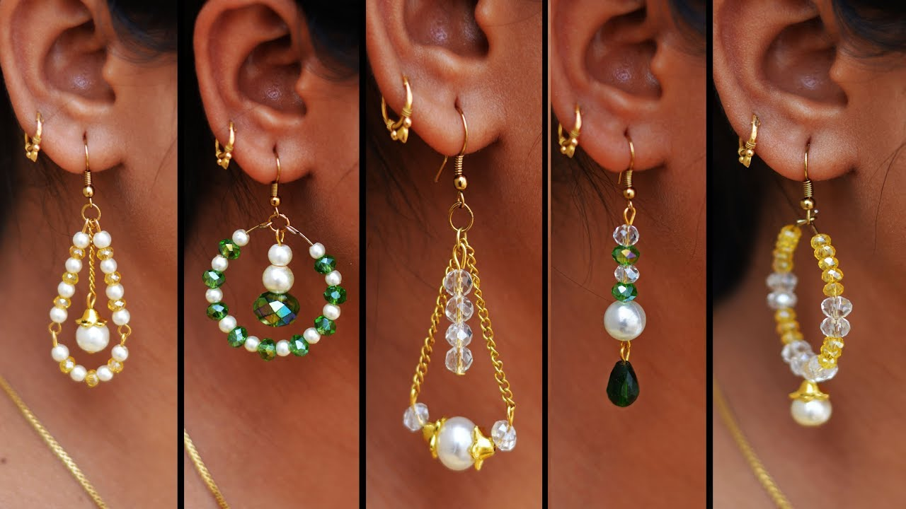 5 Easy Pearl Crystal Earring Design Diy 5 Min Craft Hand