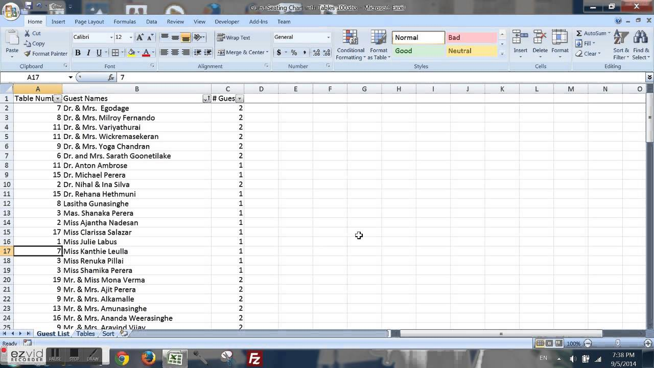 small resolution of guest seating chart with tables for wedding and parties in excel