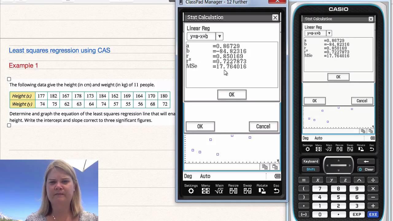 Least Squares Regression Line Using Cas