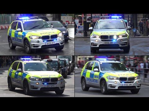 x4 London Police BMW X5 ARVs responding with BULLHORN!