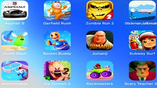 Asphalt 9,Zombie Run 2,Stickman Jailbreak,Dumb Dash,Rocket Buddy,Jumanji Run,Subway Surfers,TapCheat