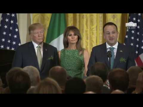 President Trump Delivers Remarks at the Shamrock Bowl Presentation by Prime Minister Varadkar