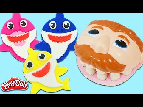 Feeding Mr. Play Doh Head Fun & Easy DIY Play Dough Baby Shark Cookies!
