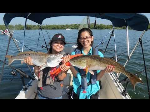 Fishing For Redfish At Calaveras Lake With OCD Guide Service