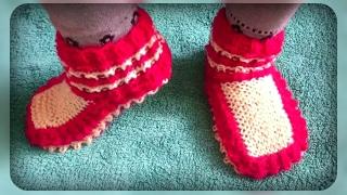 домашние носочки - тапочки, вязание спицами