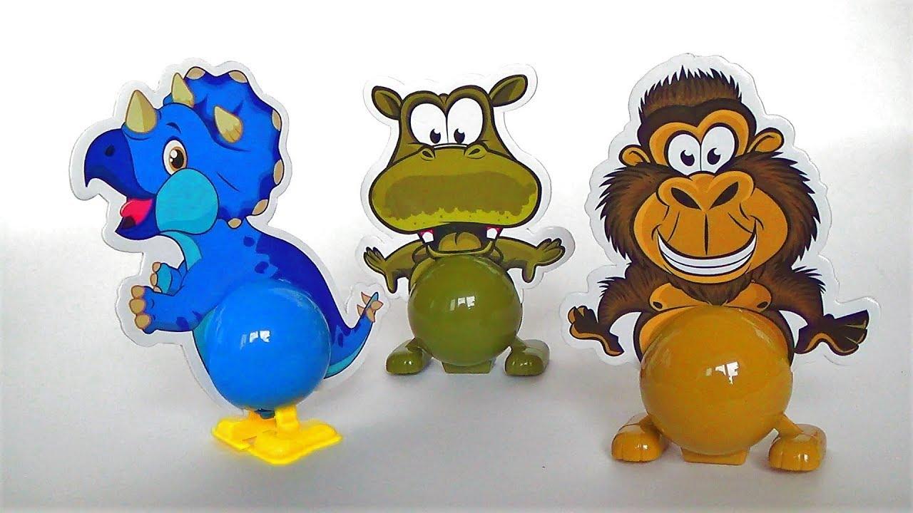 Заводные игрушки животные - распаковка заводных игрушек - игрушки для детей