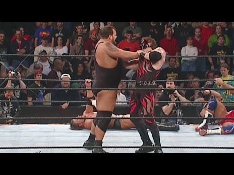 Kane shows off his immense strength by lifting Big Show over-the-top-rope: Royal Rumble 2002