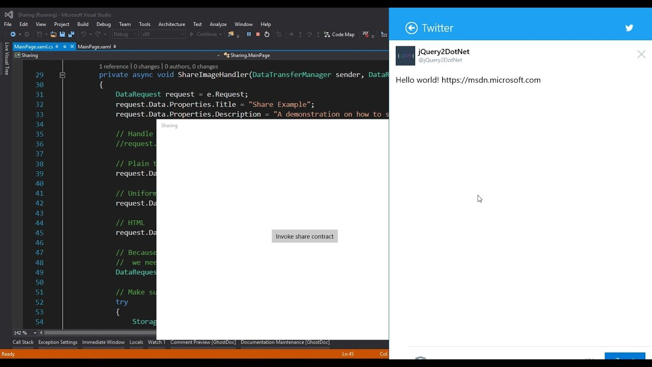 Add #Sharing button in your #UWP App