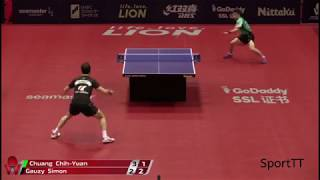 Chuang Chih-Yuan vs Simon Gauzy [ Japan Open 2018 ]