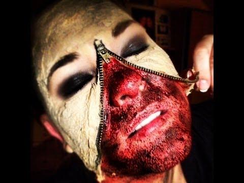 Zipzáros zombi smink Halloween-ra
