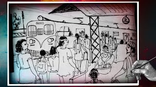 How to Draw Railway Station || Indian Railways Train and Station || with ballpoint pen