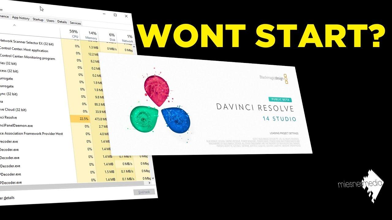 How To Fix Davinci Resolve 14 Beta Not Starting - YouTube