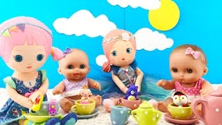 Twin Babies Baby Dolls Tea Party Doll & Surprise Blind Bags Shopkins Sheriff Callie Toy Videos