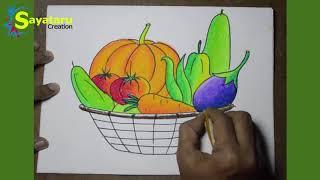 basket vegetable drawing vegetables easy draw simple drawings paintingvalley explore