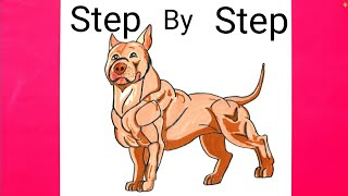 How to DRAW A Dog - Pitbull Step by Step Guide | Pitbull Dog Drawing Easy Method | All Real Draw