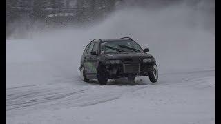 ICE DRIFTING WITH 900HP BMW E30 AND BMW E46 DIESEL Strangnas ice drift meet