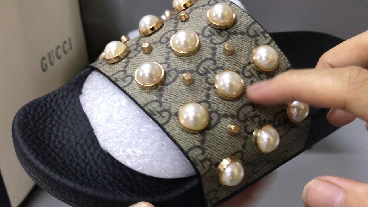 b6205b8fc76e54 Gucci GG Supreme slide with pearls - YouTube