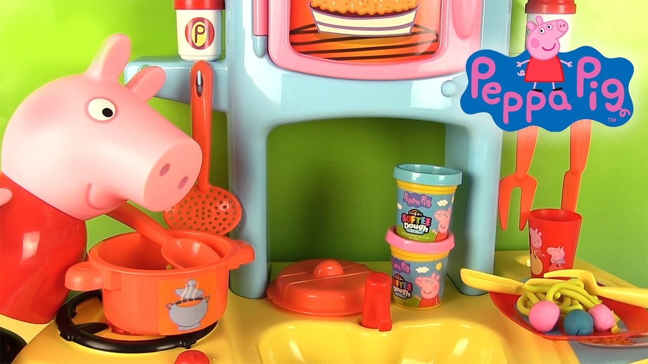 peppa pig jouets grande cuisine smoby avec chef peppa p te modeler p tes youtube. Black Bedroom Furniture Sets. Home Design Ideas