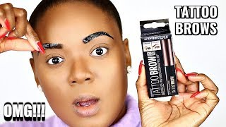 I TATTOOED MY OWN BROWS (NO MICROBLADING NEEDED) MAYBELLINE TATTOO BROW PEEL OFF TINT | OMABELLETV