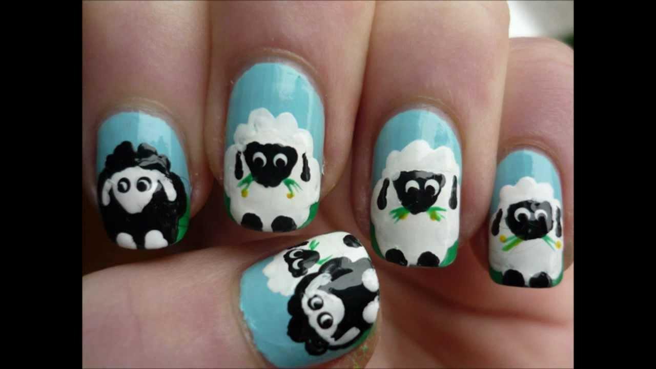 Easy Sheep Nail Art Spring Tutorial Youtube